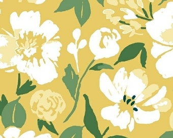 Windham Fabrics - Pink Lemonade by Tessie Fay - 51321-3 - Floral on Yellow - Floral