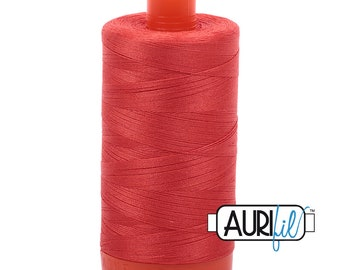 50 Wt AURIFIL Light Red Orange 2277 Mako Made in Italy 1300m Quilt Cotton Quilting Thread (MK50SC6)