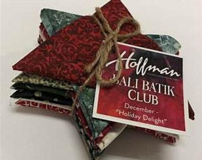 "Hoffman Bali Batik Club - December ""Holiday Delight"" - 12 Coordinating Fat Quarters - Quilting Cotton"