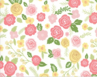 Moda Fabrics - Lollipop Garden - 5080 11 - Peach and Pink on White