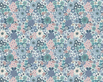 Lewis & Irene Fabrics - Michaelmas - Multi Floral on Light Blue (A401.1) - Floral