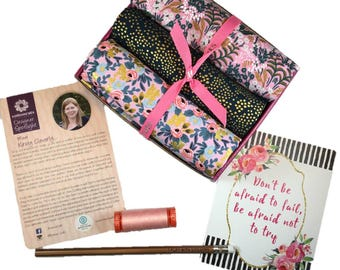 """Complete Modern Maker Box - Menagerie by Rifle Paper Company for Cotton + Steel - Box """"Pink and Black"""" -  Quilters Cotton"""