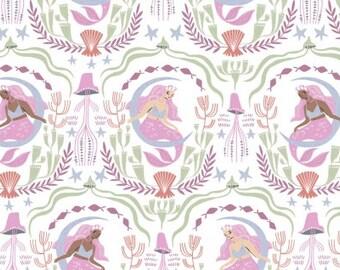 Dear Stella Fabrics - Sea Spell by Rae Ritchie - STELLA-1423 White Mermaid Toile - Juvenile