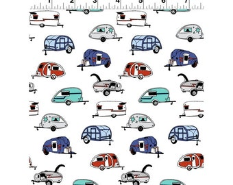 Clothworks Fabrics - Tiny Print Nation Glamping - Campers on White - Y2683-1 White - Holiday / Seasonal