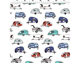 Clothworks Fabrics - Tiny Print Nation Glamping - Y2683-1 White - Holiday / Seasonal