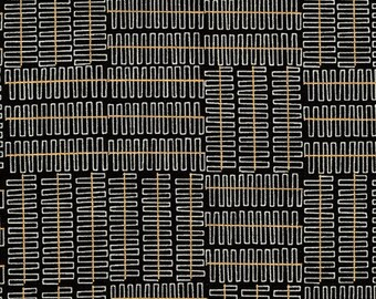 Robert Kaufman - Wayside by Karen Lewis - Grey grid pattern on black (AWIM-18692-2) - Modern Maker Box