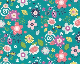 Riley Blake - Main Teal - Enchanted by Dodi Lee Poulsen (C5680-TEAL) - Floral