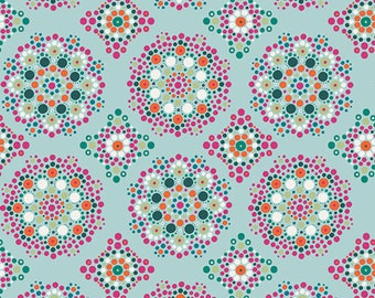 CLEARANCE - One Yard Cuts Only - Art Gallery Fabrics - Loved to Pieces by Mathew Boudreaux - Mandala Drops Iris - Modern Maker Box