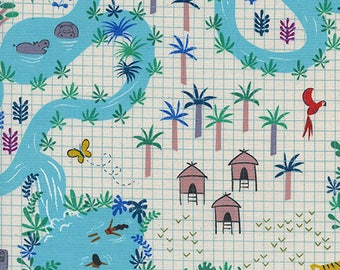 CLEARANCE - One Yard Cut - Lagoon Map in Natural - Lagoon by Rashida Coleman-Hale for Cotton + Steel -  Quilters Cotton