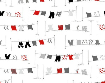 Clothworks Fabrics - Tiny Print Nation Glamping - Clotheslines - Y2685-1 WHITE - Holiday / Seasonal