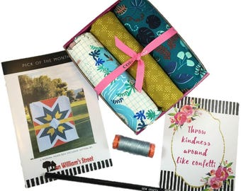 """Complete Modern Maker Box - Lagoon by Rashida Coleman-Hale for Cotton + Steel Fabrics (RJR) Box """"Teal"""" -  Quilters Cotton"""