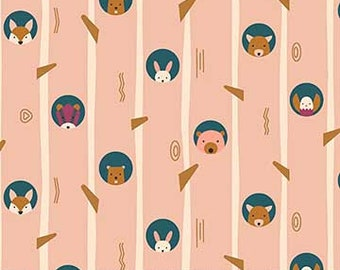 FIGO Fabrics - Treehouse by Lemmoni - Hide and Seek Multi / Pink (90066 21 PINK) - Modern Maker Box