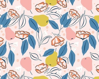 FIGO Fabrics - Rollakan by Cathy Nordstrom - 90037 21 PINK - Floral and Modern