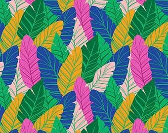 FIGO / Northcott Fabrics - Tropical Jammin' by Black Lamb - 90027-78 GREEN - Modern