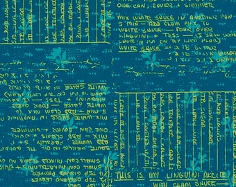 Windham Fabrics - Norma Rose by Natalie Barnes - Teal with Green Text - 52012-1