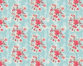 One Yard Cut - Abbie by Sue Daley for Riley Blake Fabrics - C7711 Aqua -  Quilters Cotton