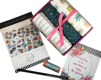 """Complete Modern Maker Box - Little Town by Amy Sinibaldi for Art Gallery Fabric - Box """"Dark Green"""" -  Quilters Cotton"""