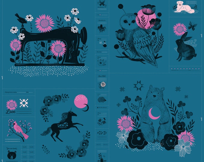 "Moda Fabrics - Crescent Moon Forest Panel by Sarah Watts for Ruby Star Society - approx 24"" x 44"""