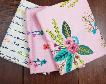 3 Half Yard Fabric Bundle - Meriwether by Amy Gibson for Windham Fabrics - Pink Floral - Cotton