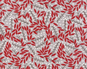 Moda - Merriment by Gingiber - 48273 14 - Holiday / Seasonal - Red leaves on grey