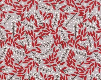 Moda Fabrics - Merriment by Gingiber - 48273 14 - Holiday / Seasonal - Red leaves on grey