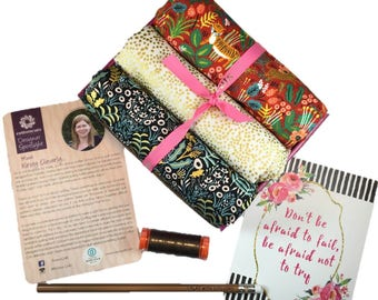 """Complete Modern Maker Box - Menagerie by Rifle Paper Company for Cotton + Steel - Box """"Red and Gold"""" -  Quilters Cotton"""