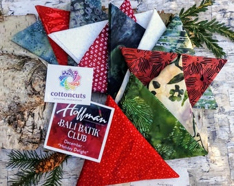 "Hoffman Bali Batik Club - December ""Holiday Delight"" - 12 Coordinating Fat Quarters - Quilting Cotton"