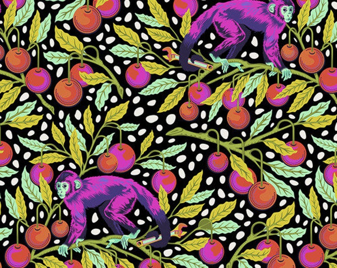 Whimsy Fabric B - Monkey Wrench by Tula Pink - Guava Monkey Wrench