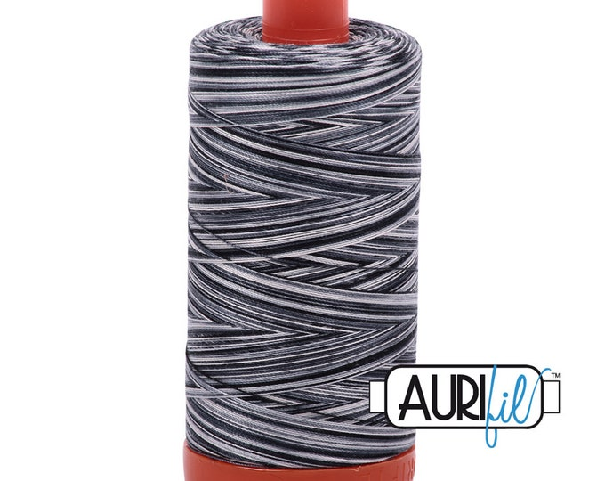 50 Wt AURIFIL - Graphite 4665 - Variegated -  Mako Made in Italy 1300m Quilt Cotton Quilting Thread