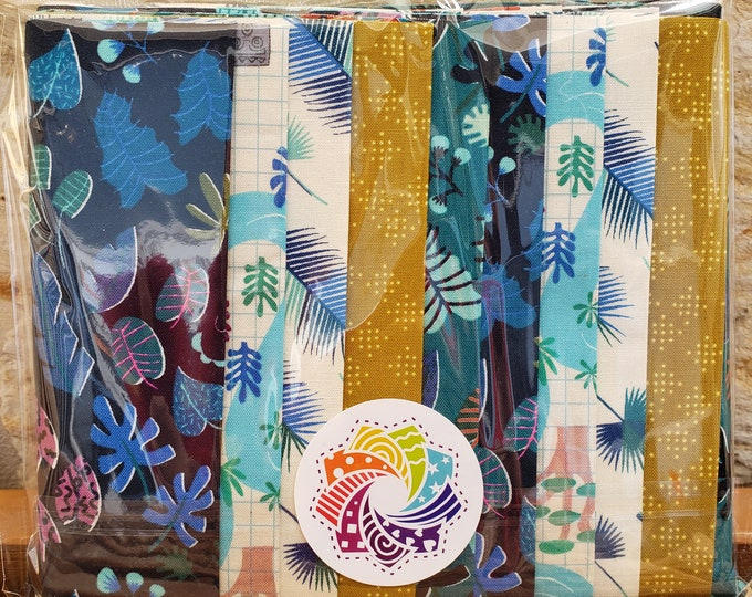 "Calliope Precut Kits - Lagoon by Rashida Coleman-Hale for Cotton + Steel - Ten 6.5"" coordinating strips - Quilting Cotton"