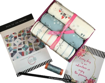 """Complete Modern Maker Box - Little Town by Amy Sinibaldi for Art Gallery Fabric - Box """"Soft Green"""" -  Quilters Cotton"""