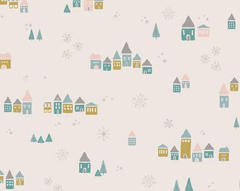 CLEARANCE - One Yard Cut - Snowdrift in Magic - Little Town by Amy Sinibaldi for Art Gallery Fabrics -  Quilters Cotton