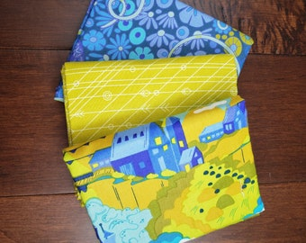 3 Half Yard Fabric Bundle - Diving Board by Alison Glass for Andover Fabrics - Blue - Cotton