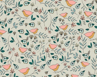 CLEARANCE - One Yard Cut - Love Birds in Celeste - Love Story by Maureen Cracknell for Art Gallery Fabrics -  Quilters Cotton