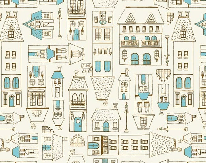Michael Miller Fabrics - City Hopper by Lisa Glanz - City Scene - DC9176-Blue-D