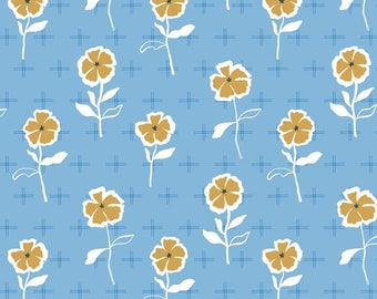 FIGO Fabrics - Rollakan by Cathy Nordstrom - 90039 42 BLUE- Floral and Modern