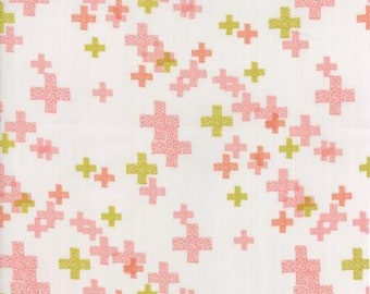 CLEARANCE - One Yard Cut - Moda - Modern BG Colorbox Backgrounds by Zen Chic Fabrics - Peach Blossom on Fog Pluses -  Quilters Cotton