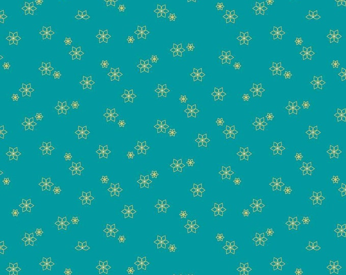 Skipbo Fabric B - Shades of Summer by Heather Peterson - Star Flower Teal - C9781-Teal