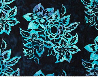Banyan Batiks - Baralla - Black and Teal Floral - 80310-99