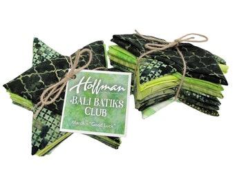 "Hoffman Bali Batik Club - March ""Good Luck"" - 12 Coordinating Fat Quarters - Quilting Cotton"