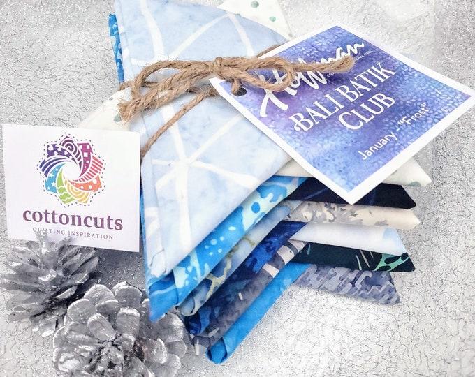 "Hoffman Bali Batik Club - January ""Frost"" - 12 Coordinating Fat Quarters - Quilting Cotton"