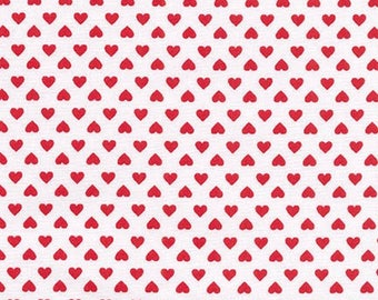 5 Yard Cut - Sevenberry Classiques - Red hearts on White Background - Seasonal