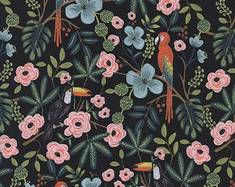 CLEARANCE - One Yard Cut - Paradise Garden in Midnight - Menagerie by Rifle Paper Company (Cotton + Steel for RJR Fabrics)