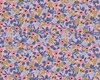 CLEARANCE - One Yard Cut - Rosa in Violet (Metallic) - Menagerie by Rifle Paper Company (Cotton + Steel for RJR Fabrics)