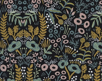 CLEARANCE - One Yard Cut - Tapestry on Midnight (Metallic) - Menagerie by Rifle Paper Company (Cotton + Steel for RJR Fabrics)