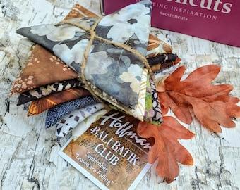 "Hoffman Bali Batik Club - September ""Leaves are Falling"" - 12 Coordinating Fat Quarters - Quilting Cotton"