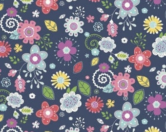 Riley Blake - Main, Navy - Enchanted by Dodi Lee Poulsen (C5680-NAVY) - Floral