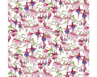 Clothworks Fabrics - Fuschias and Hummingbirds by Barb Tourtillotte - Y2355-1 - Floral