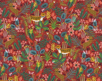 CLEARANCE - One Yard Cut - Jungle in Red - Menagerie by Rifle Paper Company (Cotton + Steel for RJR Fabrics)
