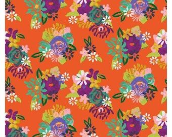 CLEARANCE - Clothworks Fabrics - Painted Petals - Orange - Y3073-37